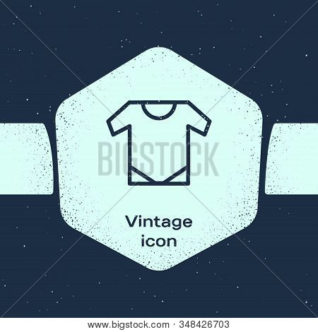 Grunge Line Baby Onesie Icon Isolated On Blue Background. Baby Clothes Symbol. Kid Wear Sign. Monoch