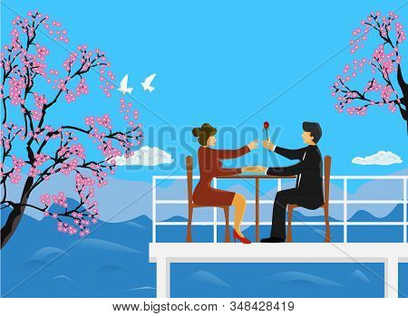 The Couple Sat On A Wooden Chair On The Rooftop, A Man Handed Red Roses To Women, Cherry Blossoms An