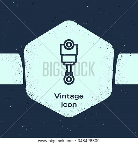 Grunge Line Engine Piston Icon Isolated On Blue Background. Car Engine Piston Sign. Monochrome Vinta