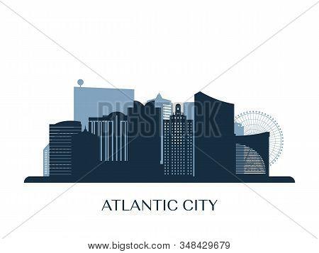Atlantic City Skyline, Monochrome Silhouette. Vector Illustration.