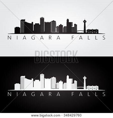 Niagara Falls Skyline And Landmarks Silhouette, Black And White Design, Vector Illustration.