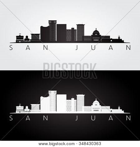 San Juan Skyline And Landmarks Silhouette, Black And White Design, Vector Illustration.