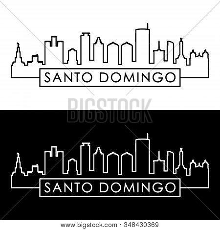 Santo Domingo Skyline. Linear Style. Editable Vector File.