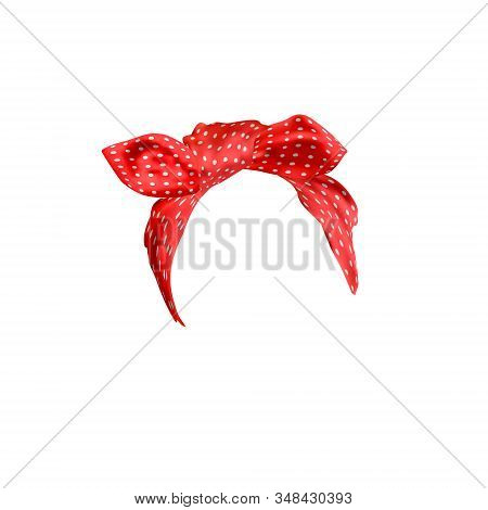 Lifestyle Head Bandana. Realistic Red And White Polka Dot Bandana For Woman Hairstyles. Fashion Hair