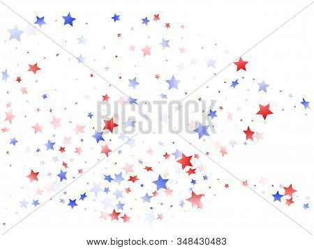 American Patriot Day Stars Background. Holiday Confetti In Us Flag Colors For Patriot Day.  Gradient