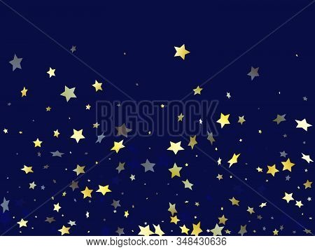 Gold Falling Star Sparkle Elements Of Glitter Gradient Vector Background. Abstract Confetti Gold Sta