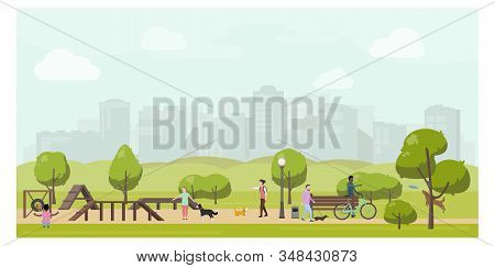 Dog Playground In City Park Flat Illustration. Stock Vector. People Playing With Dogs In Public Park