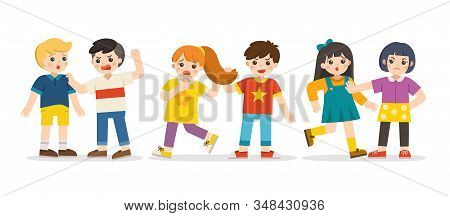 Bullying Children. A Boy Pulling Girl's Hair. Girl Pushing Another Girl. Angry Boy Rampage Hitting H