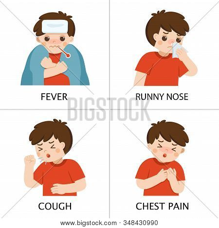 A Boy Get Sick. He Has High Temperature. Boy Is Coughing And Suffering From Chest Pain. Coronavirus