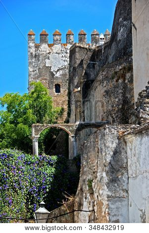 View Of Part Of The Castle Wall And Battlements, Arcos De La Frontera, Andalucia, Spain