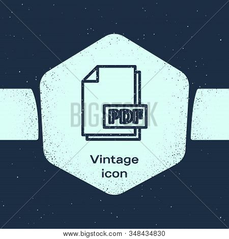 Grunge Line Pdf File Document. Download Pdf Button Icon Isolated On Blue Background. Pdf File Symbol