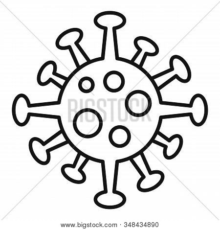 Virus Bacteria Icon. Outline Virus Bacteria Vector Icon For Web Design Isolated On White Background