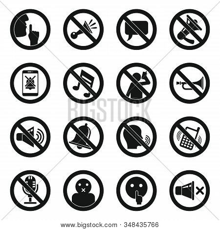 Silence Icons Set. Simple Set Of Silence Vector Icons For Web Design On White Background