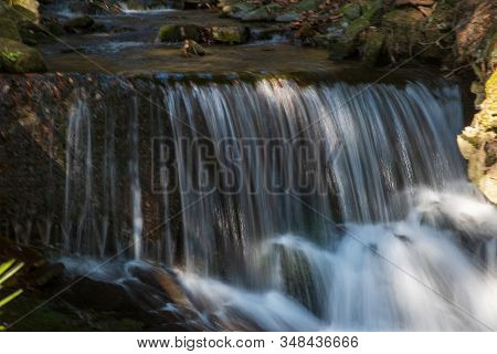 Detail Of Water Cascade On Mountain Stream In Springtime Moravskoslezske Beskydy Mountains