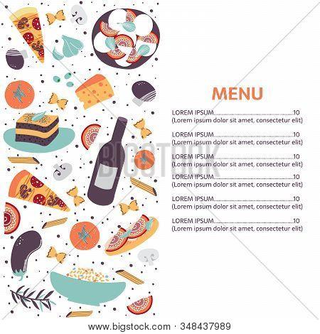 Italian Cuisine Vector Illustration With Caprese Salad, Olive Oil, Turamisu, Macaroni, Spagetti, Gar