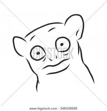 Strange Animal With Huge Eyes, Vector Sketch Illustration