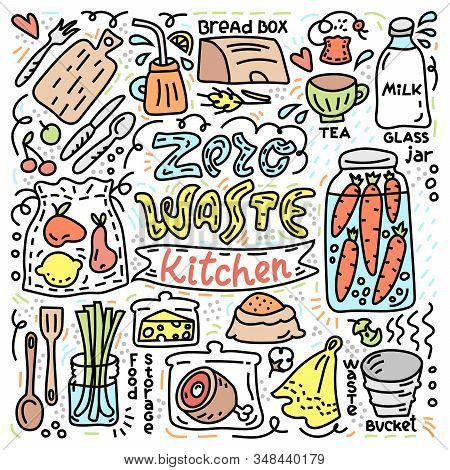 Zero Waste Illustration With Reuse Objects For Kitchen