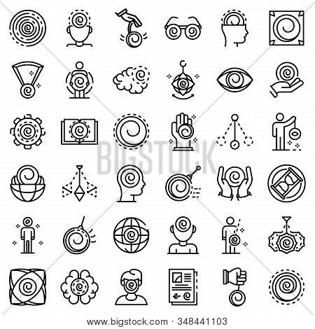 Hypnosis Icons Set. Outline Set Of Hypnosis Vector Icons For Web Design Isolated On White Background