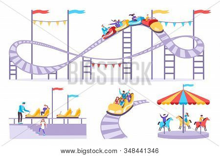 Roller Coaster Set Of Flat Icons With Amusement Rides Isolated Images And People On Blank Background
