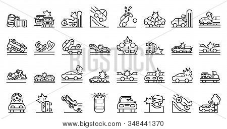 Car Accident Icons Set. Outline Set Of Car Accident Vector Icons For Web Design Isolated On White Ba