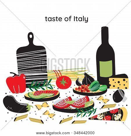 Italian Cuisine Vector Illustration With Caprese Salad, Olive Oil, Tiramisu, Macaroni, Spaghetti, Ga
