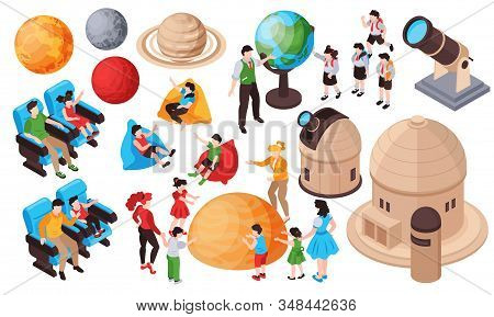 Isometric Planetarium Set With Isolated Human Characters Of Kids And Adults Planets And Buildings Wi
