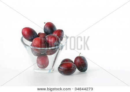 Plums in Glass Vase on white