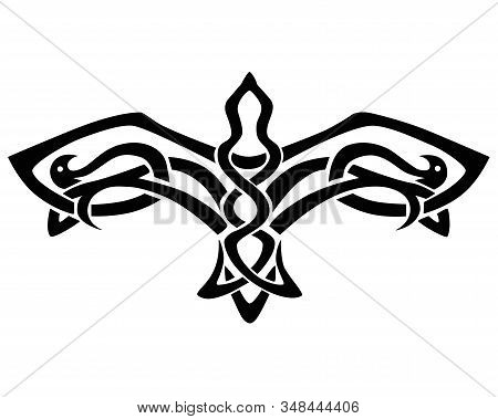 Flying Bird Tattoo. Falcon With Spread Wings - A Linear Vector Illustration In Celtic Style. Vector