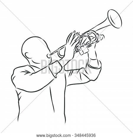 Trumpeter, Musician Playing The Trumpet, Vector Sketch Illustration
