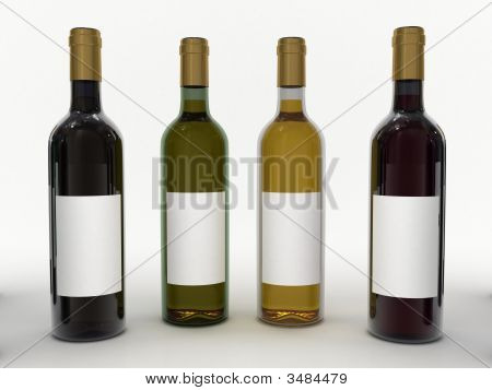 Clear Wine Bottles Isolated On White