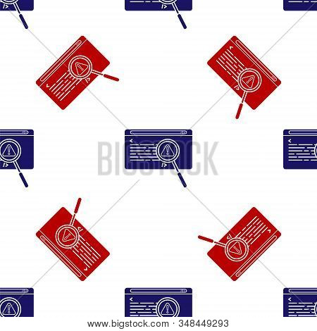 Blue And Red System Bug Concept Icon Isolated Seamless Pattern On White Background. Code Bug Concept