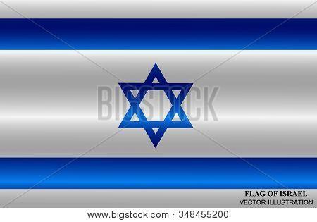 Flag Of Israel With Folds. Independence Day Of Israel Background. Bright Illustration With Flag .