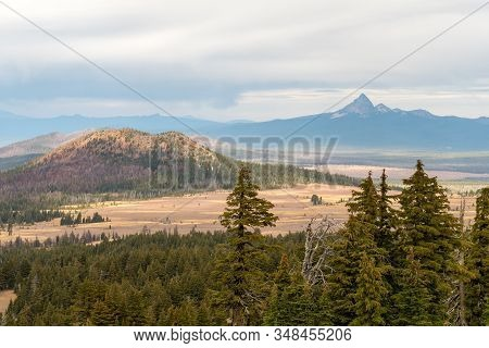 View Of The Landscape From One Of The Highest Points Of Crater Lake, Oregon, Usa