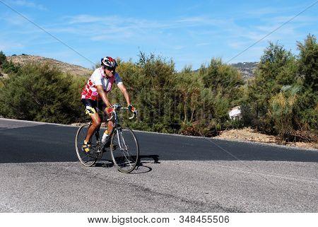 Zahara De La Sierra - August 01, 2008 - Cyclist, Zahara De La Sierra, Andalucia, Spain - August 01,