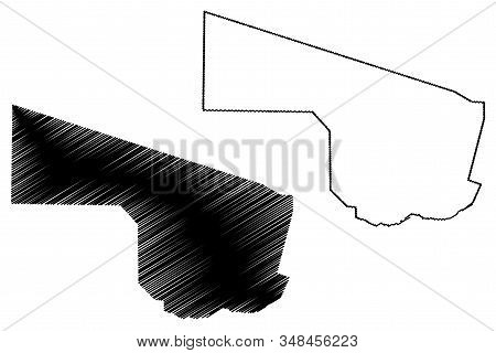 Southern District (districts Of Botswana, Republic Of Botswana) Map Vector Illustration, Scribble Sk