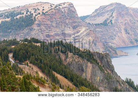 View Of One Of The Edges Of Crater Lake, Oregon, Usa