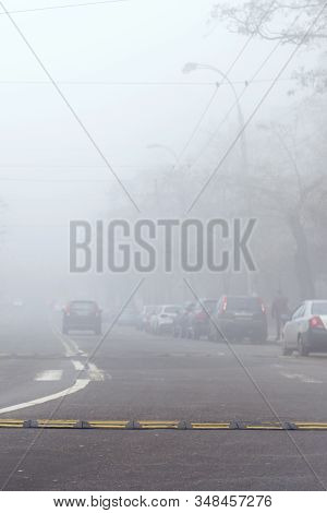 Smog In The City. Smog In The City. Smog Over The Road. Excess Of Co In The Air. Vertical Photo