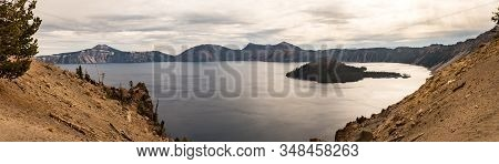 Panoramic View Of Crater Lake And Wizard Island From Merriam Point, Oregon, Usa