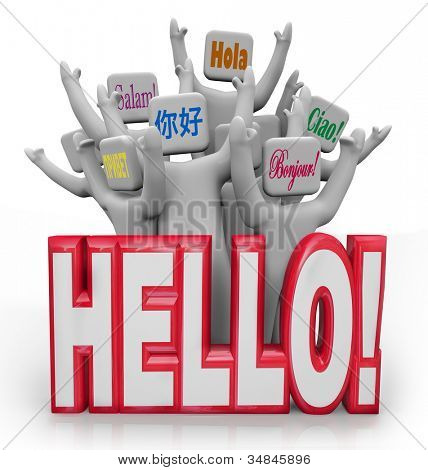 Several people greet each other with the word Hello spoken in different international languages from around the world, with the words ciao, bonjour, hola and more