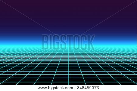 Retro Background Futuristic Landscape 1980s Style. Vector Perspective Grid. 80s Sci-fi Or Game Style