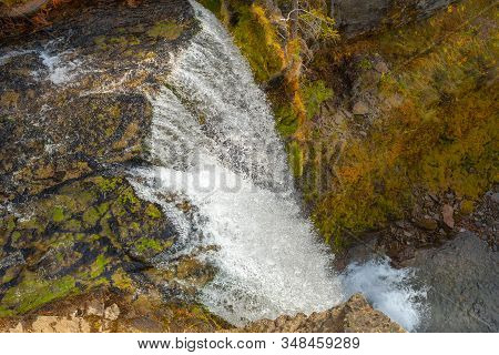 Top View Of The 97-foot Tumalo Waterfall In Tumalo Creek Near Bend, Oregon, Usa