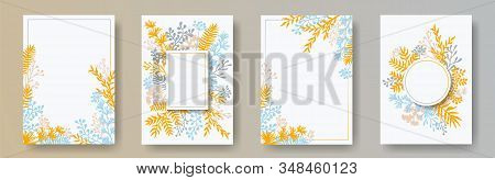 Cute Herb Twigs, Tree Branches, Flowers Floral Invitation Cards Templates. Herbal Frames Romantic In