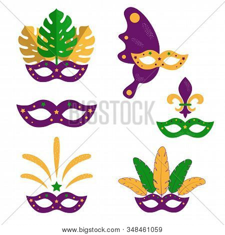 Set Of Mardi Gras Masquerade Masks With Plumage, Monstera Leaves, Fireworks. American New Orleans Fa