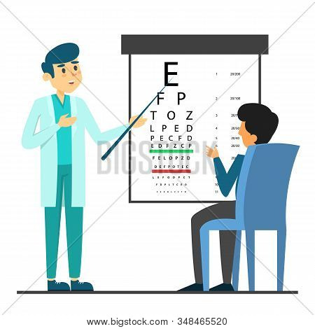 Male Beautiful Doctor Oculist In Glasses Standing
