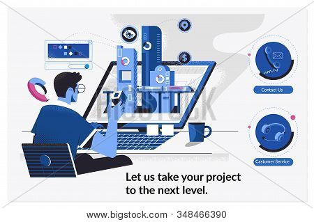 Web Page Design Templates For Levels Of Work On Project. Developer Working On A New Project