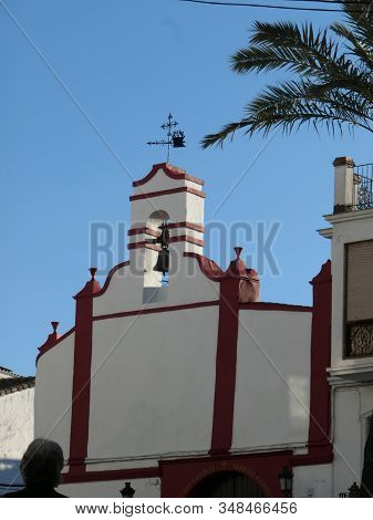 Closeup Of Belfry And Bell At Vera Cruz Church In Alora, Andalusia