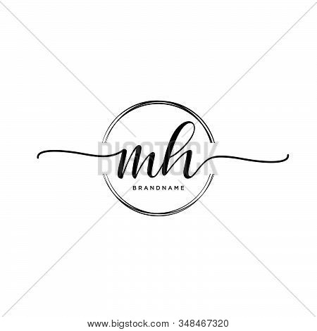 Mh Initial Handwriting Logo With Circle Template Vector.