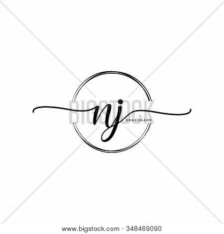 Nj Initial Handwriting Logo With Circle Template Vector.