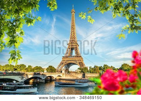 Eiffel Tower And Bridge Iena On The River Seine On The River Seine In Paris, France