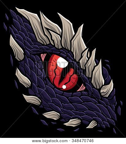 Mascot Illustration With The Eye Of A Dragon Or Other Reptile Character.